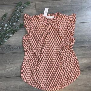 New Pink Floral LOFT Cap Sleeve Blouse